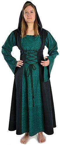 HEMAD Mittelalter Kleid zum Schnüren mit Gugel Damenkleid grün-schwarz (M, schwarz-grün)