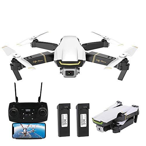 Goolsky Global Drone GW89 RC Drone Drone x procon Cámara 1080P WiFi FPV Foldable Controles Remotos Plegable RC Selfie Quadcopter para Niños Principiantes Entrenamiento (Blanco, 2 Batería)