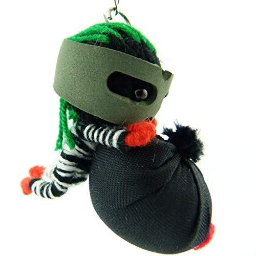 Bankräuber - Voodoo-Puppe Schlüsselanhänger als Seelentröster Glücksbringer und als Accessoire - Anhänger für Taschen Handy Autorückspiegel – Sorgenpüppchen Handgemacht aus Wolle und Stoff