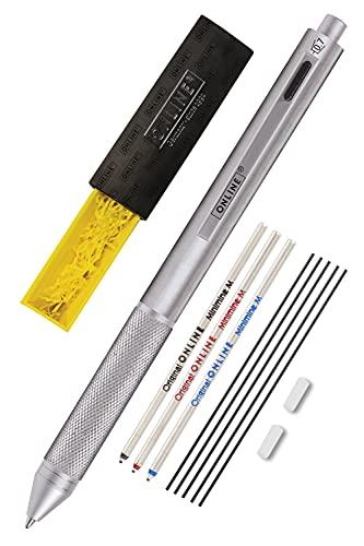 Online Multipen 4 en 1 plateado | Bolígrafo y lápiz multifunción de metal | 3 recambios de bolígrafo en azul, negro y rojo + 1 mina portaminas | Incluye goma de borrar en caja de regalo