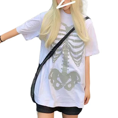 Camiseta de manga corta gótica punk para mujer Y2K E-Girls 90s Goth Vintage manga corta oversize con estampado gráfico Streetwear, D#white Skull Oversized, L