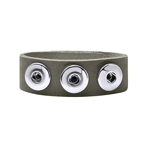Quiges Damen 18mm Druckknopf Chunk Armband aus Leder Grau Artischocke Verstellbar 18.5-20.5cm für Click Buttons