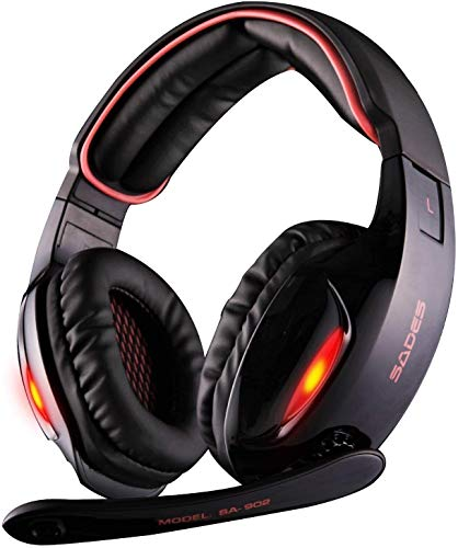 commercial blackweb 7 1 surround sound pc gaming headset Sades SA902 7.1-channel virtual USB stereo surround sound system, wired PC gaming headset, headphones with microphone, volume control, LED lights for noise cancellation (black / red)
