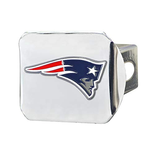 FANMATS 22585 NFL New England Patriots Metal Hitch Cover, Chrome, 2' Square Type III Hitch Cover, Blue