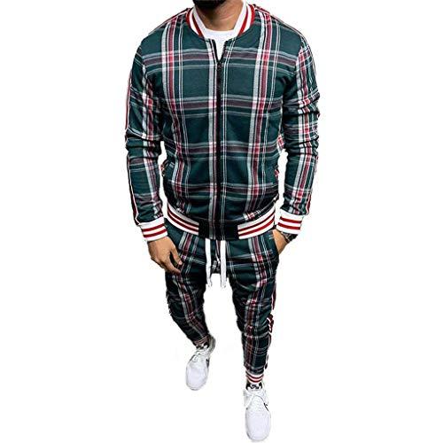 HUSHION Herren Plaid Athletic Trainingsanzug Stehkragen Jacke + Hosen Reißverschluss Jogging Sweat Suits Green-XXL