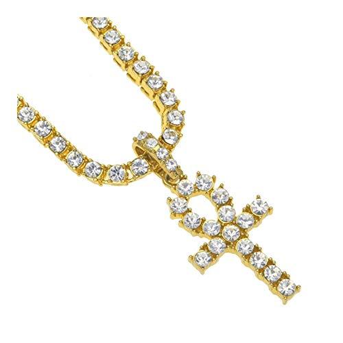 FKJSP del Colgante Cruz egipcia Zirconia Estilo 16' -30' Collar de Cadena (Color : 24INCH, Size : Gold)