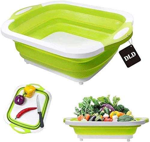 Multifunctional Foldable Chopping Board, Plastic Anti-Slip Mildewproof Cutting Board, Portable Bowl Draining Basket Travel Rectangular Folding Washing Basin/ice Bucket/Sink Bucket Storage (Green)