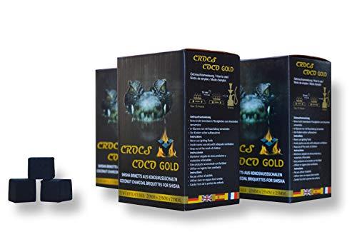 CROCS COCO Carbón para shisha dorado, carbón de coco con larga duración de combustión, pocas cenizas, bajo desarrollo de humo, carbón natural sostenible, cubo para shisha con calidad prémium,