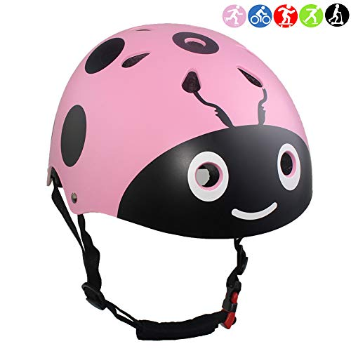 Lanova Boys Girls Ladybug Cycling Multi-Sport Safety Bike Skating Scooter Helmet (Pink, S)
