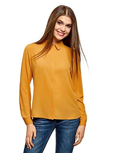oodji Ultra Mujer Blusa de Tejido Fluido, Naranja, ES 34 / XXS