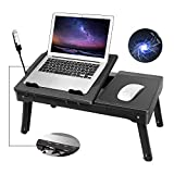 Moclever Laptop Table for Bed-Multi-Functional Laptop Bed Table Tray with Internal Cooling Fan & 2 Independent Laptop Stands-Foldable & 3 Different Height Laptop Desk-LED Lamp-4 Port USB (Black)