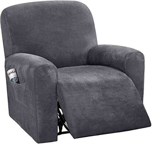 Velvet Stretch Recliner Slipcover, 4 Pieces Soft Plush Recliner Chair Cover Non Slip Armchair Slipcover With Side Pocket Washable Furniture Protector For Living Room-gray-Recliner