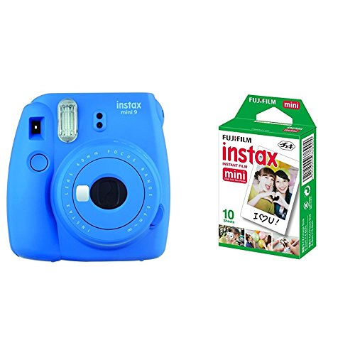 Fujifilm Instax Mini 9, Azul marino + 1 paquetes de películas fotográficas instantáneas (10 hojas)