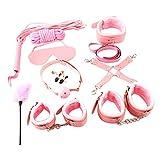 F Fityle Bandage Set Rosa Bondage-Set mit Handschellen Fußfesseln für Herren Damen