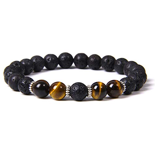 Handmade Stretch Stone Bracelets Amethyst Lucky Elastic Bracelets Black Lava Stone Silver Interval Beads Bracelet Healing Lava Rock Stone Essential Oil Aromatherapy Diffuser For Men Classic Yoga Bangl
