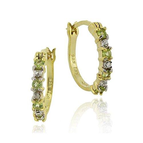 Edle Creolen / Ohrringe mit Diamanten und Peridot, 24 Karat Gold Vermeil