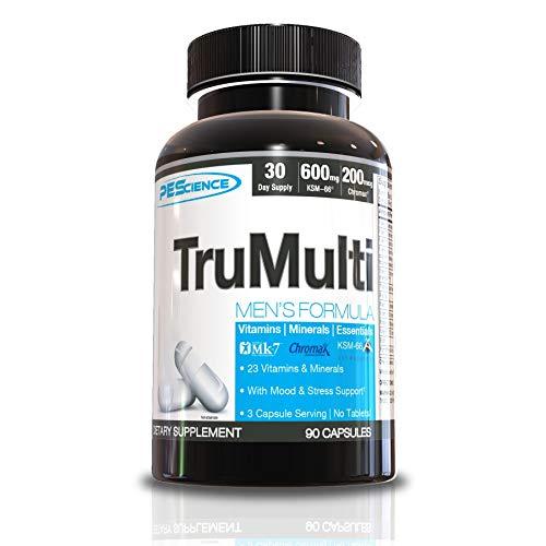 PEScience TruMulti Men's, Multivitamin with Premium Quality Vitamin C, D, Zinc for Immune & Stress Support, 90 Capsules