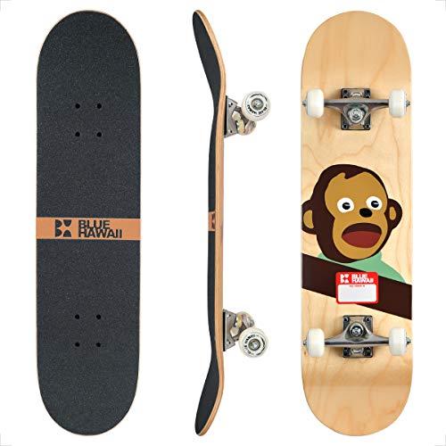 BLUE HAWAII Skateboard 78.7 x 20.3 cm Komplette Cruiser Skateboard, 7-lagigem Hochdichtes Ahornholz Deck mit ABEC-9 Kugellager, für Kinder, Jugendliche und Erwachsene (Awkward)