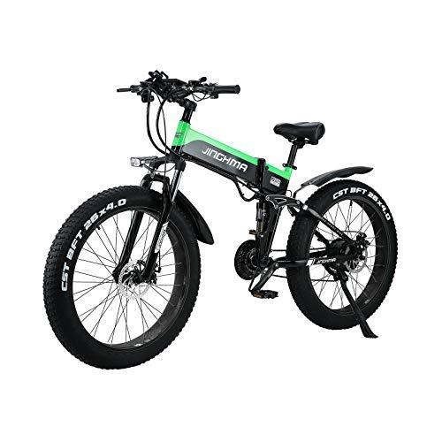 SONGZO Bici Elettrica 26 Pollici Fat Tire Snow Mountain Bike con Batteria al Litio Rimovibile 48V 12.8AH e Portapacchi Posteriore