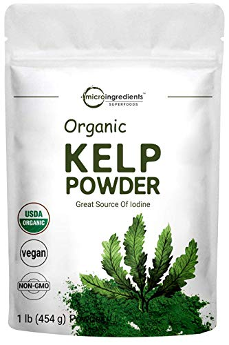 Sustainably US Grown, Organic Kelp Powder (Ascophyllum Nodosum), 1 Pound (16 Ounce), Organic Kelp Supplement, Contains Natural Iodine for Thyroid Support, Body Wraps, Scrubs & Facials, Vegan Friendly