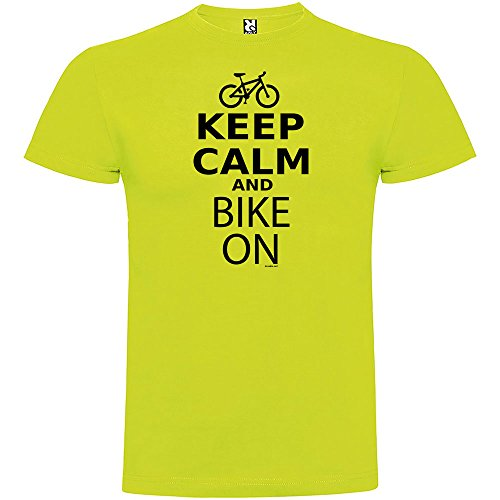 Camiseta Ciclismo Keep Calm and Bike On Manga Corta Hombre Pistacho L
