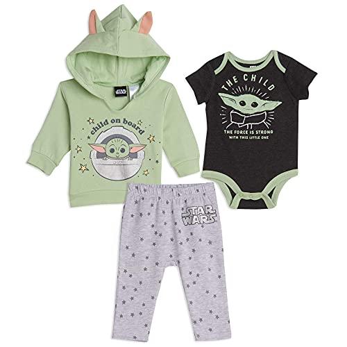 STAR WARS Mandalorian Baby Yoda Baby Boys 3 Piece Layette Set Grey/Green 0-3 Months