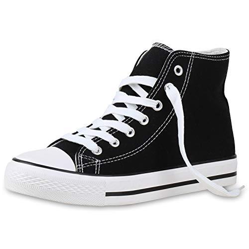 SCARPE VITA Damen High Top Sneakers Sportschuhe Stoffschuhe Freizeit Schuhe 135082 Schwarz Black Basic 38