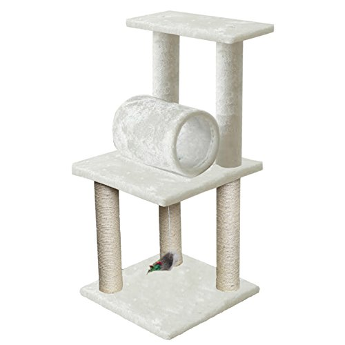 16' x 16' x 33' Inches Multi-Level Cat Scratching Post 3 Level Cat Condo Tree House Tower with Sisal Rope, Feather Mouse Cat Toy Ball, Play Tunnel by Paws & Pals