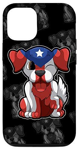 iPhone 12/12 Pro Cute Puerto Rico Puppy - Boricua Dog - Puerto Rican Flag Case