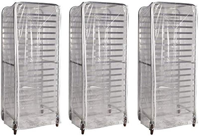 Winholt SRC 58 3Z Bun Pan Rack Cover Heavy Duty Plastic 3 Zippers 23 W X 28 L X 61 H Clear 3 Pack