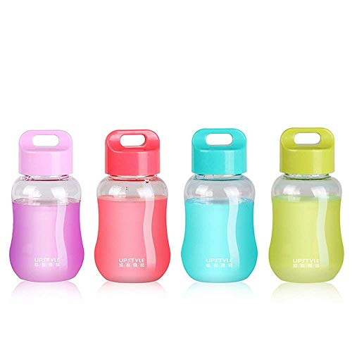JILIGUALA - Mini borraccia Upstyle in plastica per caffè, viaggi o sport. Bottiglia per acqua, latte, caffè, tè, succhi di frutta - 180ml, ., Confezione da 4 pezzi.