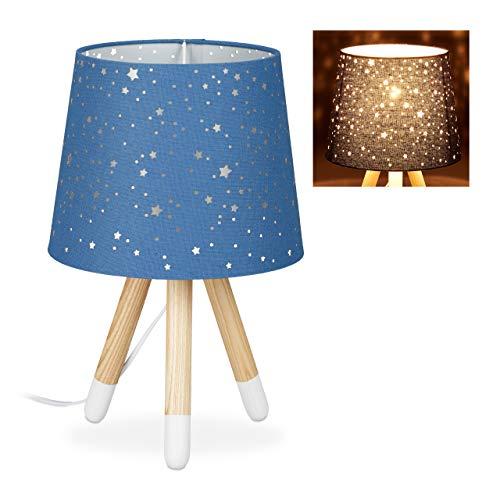 Relaxdays Tischlampe Kinderzimmer, Nachttischlampe für Jungen, E14, runder Stoffschirm mit Sternen, 40 cm hoch, blau