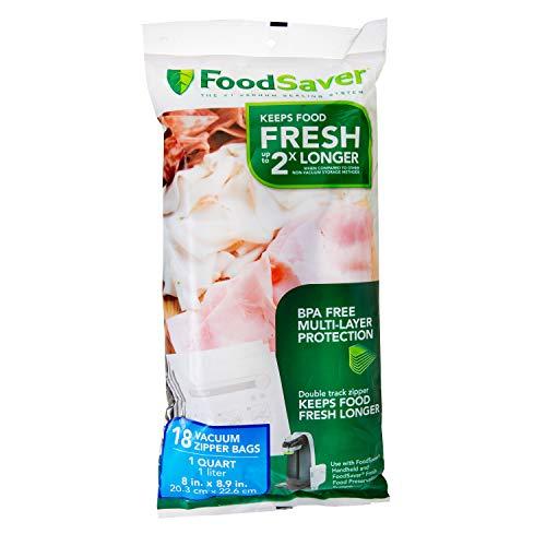 FoodSaver 1-Quart BPA-Free Multilayer Construction Vacuum Zipper Bags, 18 Count