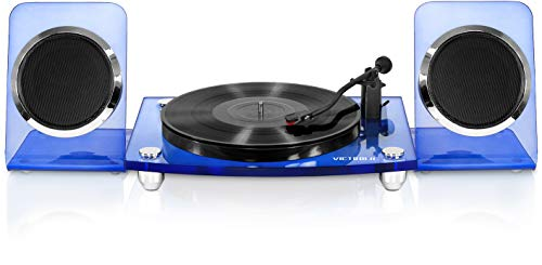 Victrola Modern Acrylic 2-Speed Bluetooth Turntable with 40-Watt Wireless Speakers, Blue