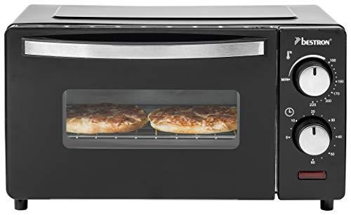 Bestron compacte mini-bakoven met boven-/onderwarmte, 9 liter, 800 watt, zwart