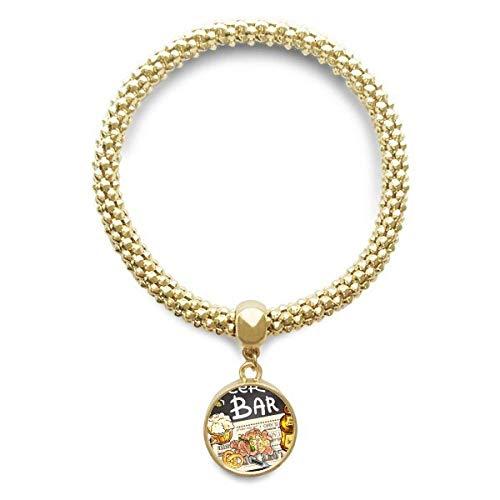 DIYthinker Womens Bier Bar Gourmet Brood Frankrijk gouden armband ronde hanger sieraden ketting