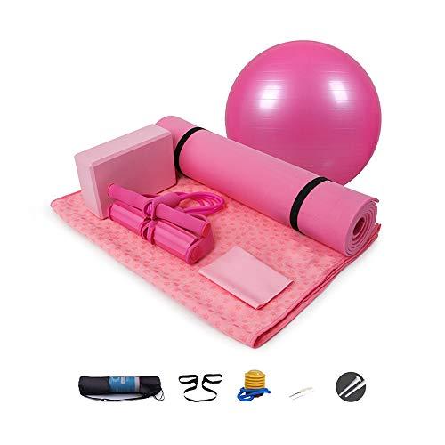 FANXQ Yoga 6-teiliges Set - einschließlich Yogamatte, 2 Yogablöcke, Yogamattenhandtuch, Yoga-Ball, Yoga-Gürtel, Yoga-Spanner, professionelles Fitness-Yoga-Set für den Umweltschutz,Rosa