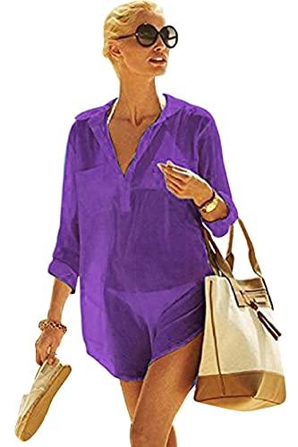 UMIPUBO Bikini Spiaggia Cover Up Donna,Copricostume Mare a V Tunica, Camicia Maniche Manica Lunga,Chiffon Dress a V Casual,Lungo Sarong Abito Estivo (PP, Taglia Unica)