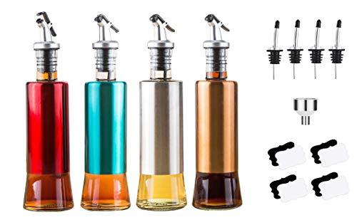 Savna Dispensador de aceite y vinagre de acero inoxidable, botella de aceite de oliva para cocina, dispensador de acero inoxidable (paquete mixto, 1 unidad), naranja, plata, verde, rojo