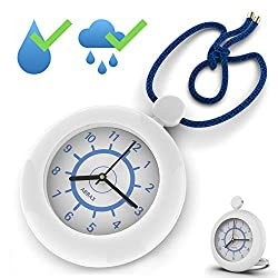 Abbax Shower Rope Clock Waterproof for Water Spray Hanging Clock with a Built-in Stand Great Clock for Bathroom Pool Side Patio Backyard Indoor Outdoor