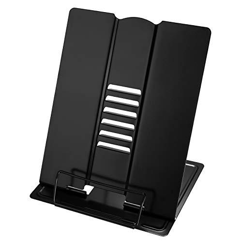 HooAMI ブックスタンド A4 筆記台 書見台 本立て ブックスタンド 卓上 読書 スタンド 楽譜 クリップ 耐久性 6段階調整 目の保護 読書台 ブックエンド