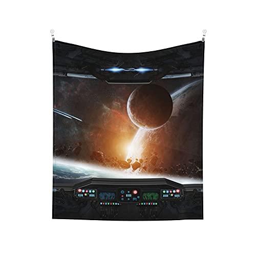 Fantascienza Capsula spaziale Astronave Fantascienza Città futura Cultura aliena Aerolite Arazzo da parete blu rosso Estetico per camera da letto Arazzo 152x130 cm Spedizione prioritaria
