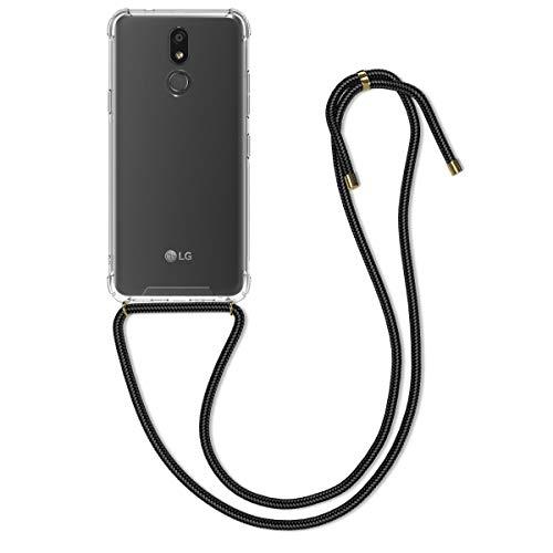 kwmobile Funda con Cuerda Compatible con LG K40 - Carcasa Transparente de TPU con Cuerda para Colgar en el Cuello