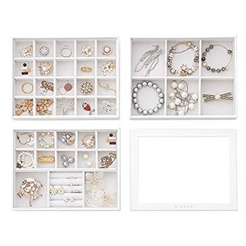 Vlando 4 in 1 Jewelry Tray Jewelry Organizer for Drawer Jewelry Organizer Tray Jewelry Drawer Organizer Stackable Jewelry Organizer Trays Drawer Jewelry Organizer-White
