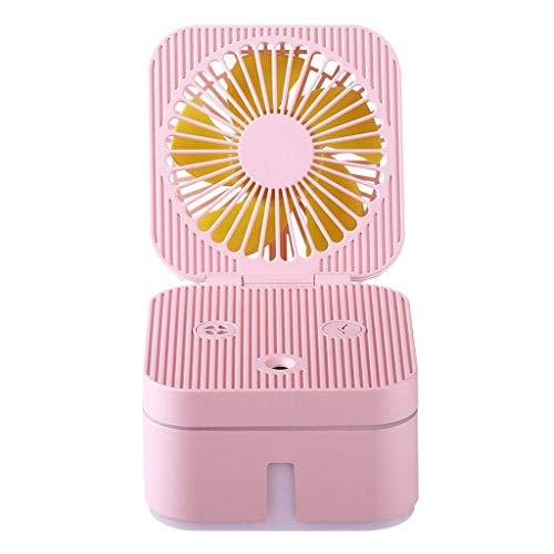Vierkante Desktop Ventilator, 4 Inch Bevochtigende Spray, Nachtlamp, Laag geluid, USB Oplaadbare Mini