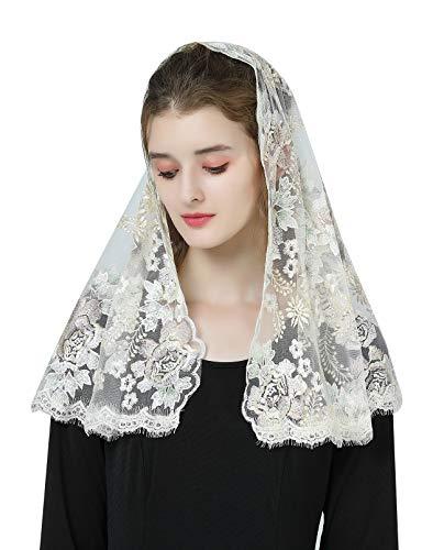 BEAUTELICATE Mantilla De Encaje Española Mujer Capilla Velo Pañuelo de Lglesia Católica Bordado Chal Bufanda Oro Champán V116
