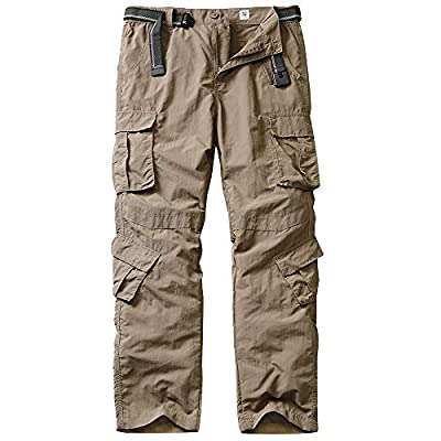 linlon Fulture Direct Men's Outdoor Casual Quick Drying Hiking Cargo Pants with 8 Pockets,Khaki,36