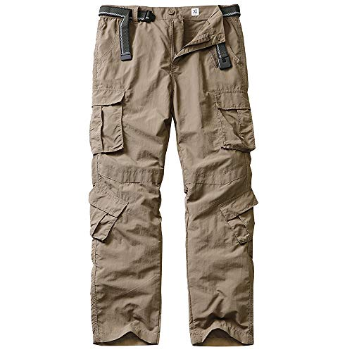 linlon Fulture Direct Men's Outdoor Casual Quick Drying Hiking Cargo Pants with 8 Pockets,Khaki,34