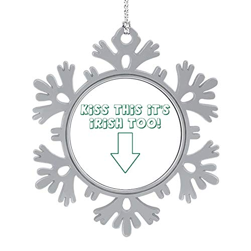 VinMea Snowflake Ornaments Gift Tags Kiss This Its Irish Too for Holiday Party,Crafting,Wedding,Christmas Trees and Embellishing