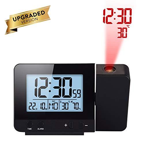 Houkiper LED Display Proiettore Orologio con Retroilluminazione Alimentato a Batteria Ruota Sveglia per Camera da Letto (Black)